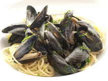 Mussels and spaghetti Royalty Free Stock Photos