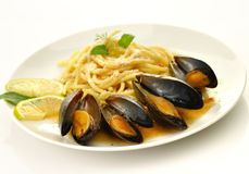 Mussels and spaghetti Royalty Free Stock Photo