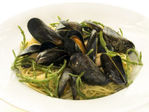 Mussels and spaghetti Stock Photo