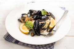 Mussels, spaghetti, lemon and parsley on a plate Royalty Free Stock Photos