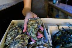 Mussels sprzedający na ulicznym jarmarku zdjęcie royalty free