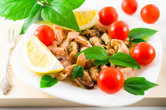 Mussels, squid and octopus, decorated with greens Stock Photo