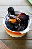 Mussels steamed in a sauce Royalty Free Stock Photography