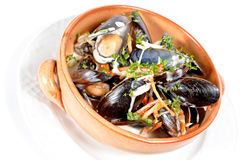 Mussels stewed in white wine Royalty Free Stock Photos