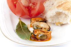 Mussels, tomato, bread and a bay leaf. Royalty Free Stock Photography