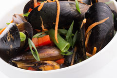 Mussels with vegetables in a plate Royalty Free Stock Photography