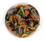Mussels with vegetables in a plate Stock Image
