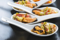 Mussels vinaigrette for a good appetizer Stock Photos