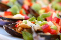 Mussels in vinaigrette sauce. Fresh mussels, peppers and onion with vinaigrette dressing Royalty Free Stock Images