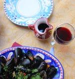 Mussels w Amalfi wybrzeża stylu fotografia stock