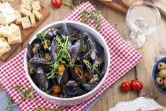 mussels w białym ceramicznym pucharze na czerwonej pielusze, Ser na drewnianej desce i szkło biały wino, oliwki, chleb Mięso na a Fotografia Stock