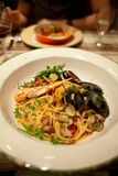 mussels włoski makaron Fotografia Stock