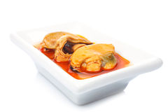 Mussels in a white dish Stock Photography