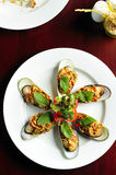 Mussels on white plate. Top view Stock Images