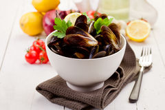Mussels with white wine Stock Photos