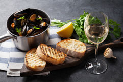 Mussels and wine Stock Image