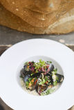 Mussels in Wine with Coriander Stock Images