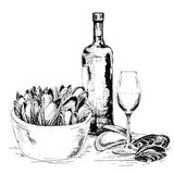 Mussels with wine. Hand drawn graphic illustration Royalty Free Stock Photo