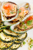 Mussels with zucchini Stock Photography