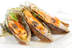 Mussels with zucchini Royalty Free Stock Photos