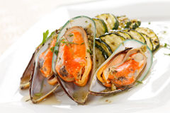 Mussels with zucchini Royalty Free Stock Image