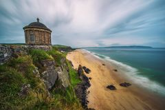 Mussenden Temple located on high cliffs near Castlerock in Northern Ireland stock images