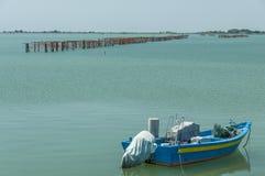 Musslaodling, Scardovari lagun, Adriatiskt hav, Italien Arkivfoton