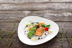 Mussle, grilled salmon, shrimp on wood copyspace Royalty Free Stock Photo