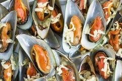 烤mussles 免版税库存图片