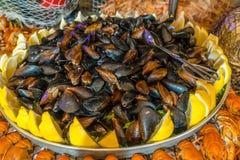 Musslor med citronen på plattan royaltyfri fotografi