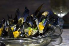 Musslor med exponeringsglas av vitt vin och timjan Royaltyfria Foton