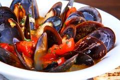 musslor saute Fotografering för Bildbyråer