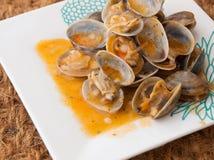 Musslor som lagas mat i receptet royaltyfria foton