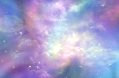 This must be what the Heavens Above looks like. Multicolored ethereal cosmic sky scape with fluffy clouds, stars, planets, nebulas, and bright light depicting Royalty Free Stock Image