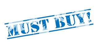 Must buy blue stamp. Isolated on white background Stock Photo