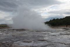 The must popular geyser in Iceland Royalty Free Stock Photo