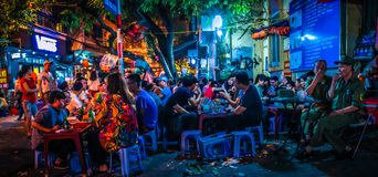 Panoramic view of Bia Hoi Junction, Ta Hien and Luong Ngoc Quyen streets in the Hanoi Old Quarter, Vietnam. A must-visit for any first-time visitor to Hanoi, Bia royalty free stock photography