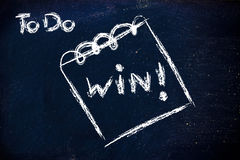 Must win, message on memo on blackboard Royalty Free Stock Photos