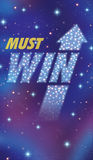 Must win. Is a proactive success predictions as a night sky with a group of stars and planets as a bright space constellation in the shape of an upward market stock illustration