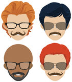 Mustach styles and glasses for men Royalty Free Stock Photos