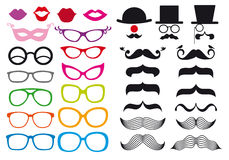 Mustache και θεάματα, διανυσματικό σύνολο ελεύθερη απεικόνιση δικαιώματος