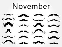 Mustache Νοέμβριος καθορισμένος movember Στοκ εικόνα με δικαίωμα ελεύθερης χρήσης