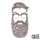 Mustache Beard and Hair Style. Royalty Free Stock Photos