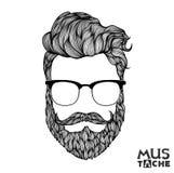 Mustache Beard and Hair Style. Royalty Free Stock Photos