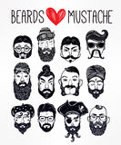 Mustache, beard and hair style set Royalty Free Stock Photos
