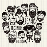 Mustache, beard and hair style set Stock Photography