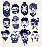 Mustache, beard and hair style set Stock Image