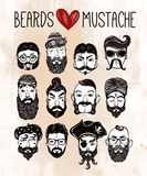 Mustache, beard and hair style set Stock Photo