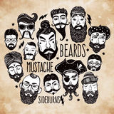 Mustache, beard and hair style set Royalty Free Stock Image