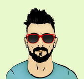 Mustache, beard and hairstyle hipster. In glasses stock illustration